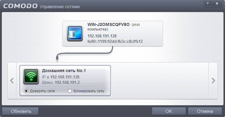 Comodo Internet Security Complete 2013: Управление сетями