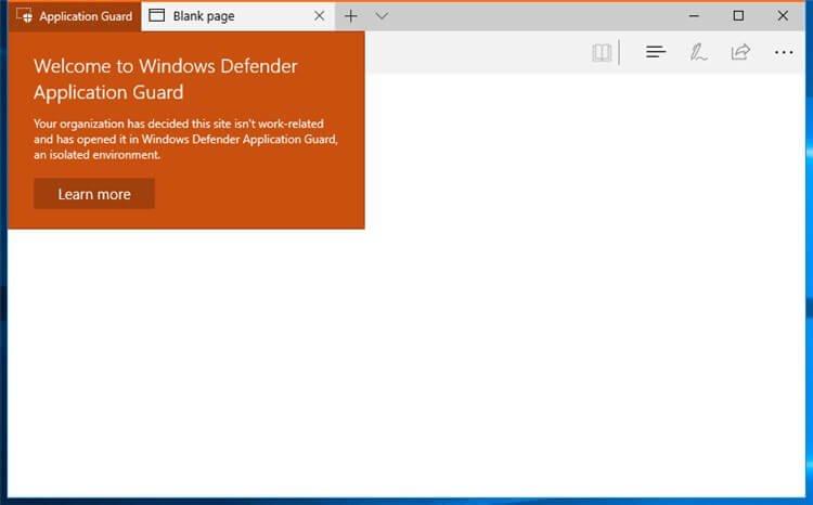 Application Guard Защитника Windows в Microsoft Edge