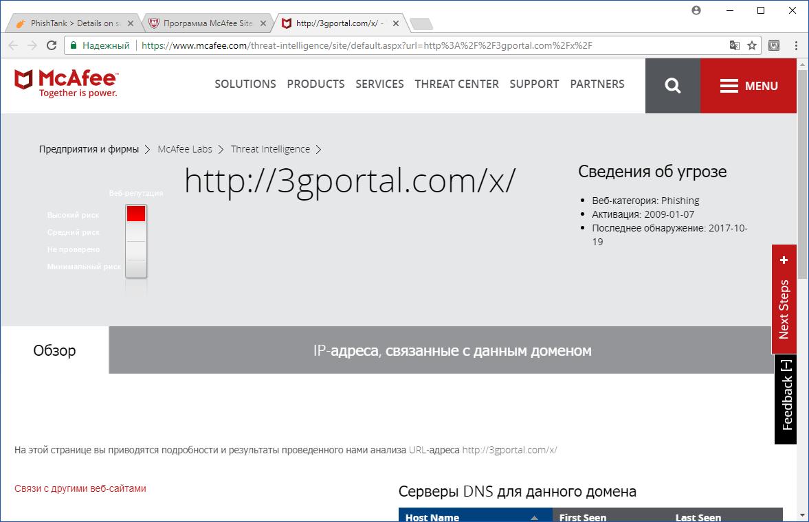 Информация о вредоносном сайте