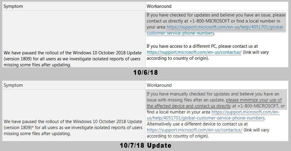 Вы можете сравнить страницы поддержки до и после обновления