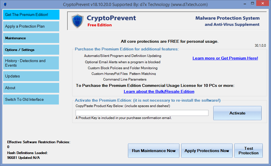 CryptoPrevent - лицензия