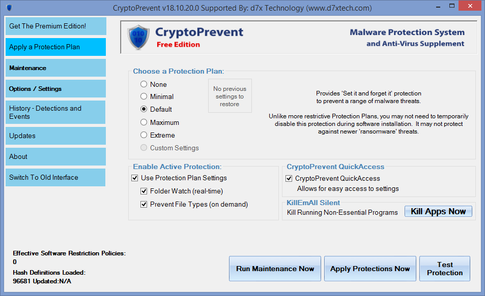 CryptoPrevent - параметры
