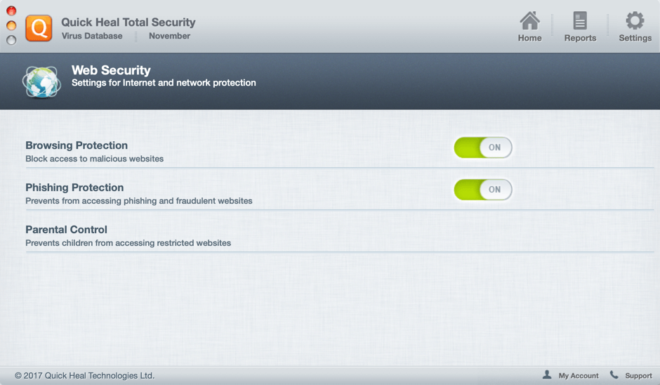 Quick Heal Total Security for Mac - веб защита