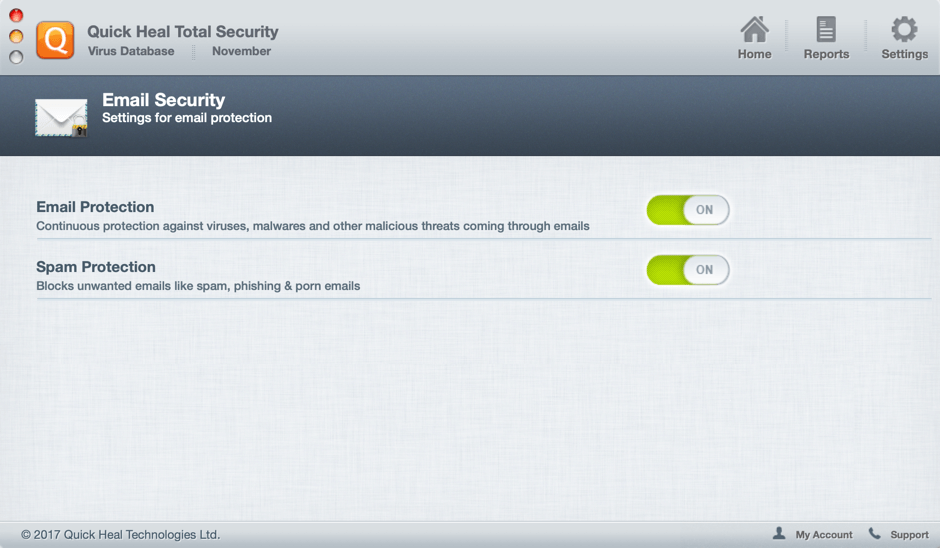Quick Heal Total Security for Mac - защита почты