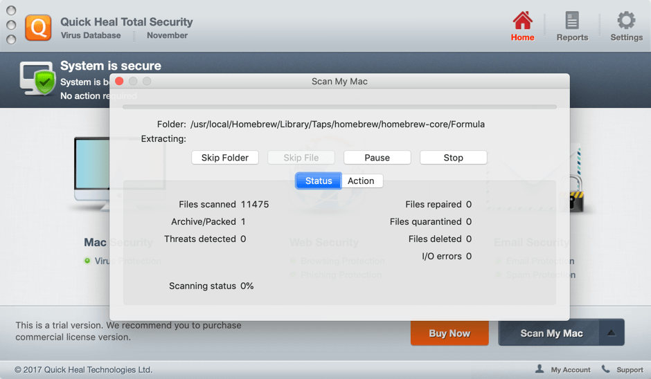 Quick Heal Total Security for Mac - сканирование