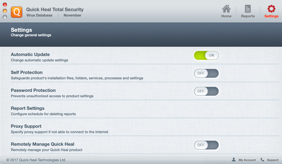 Quick Heal Total Security for Mac - настройки