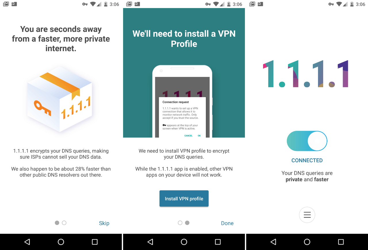 DNS-сервис Cloudflare 1.1.1.1 для Android