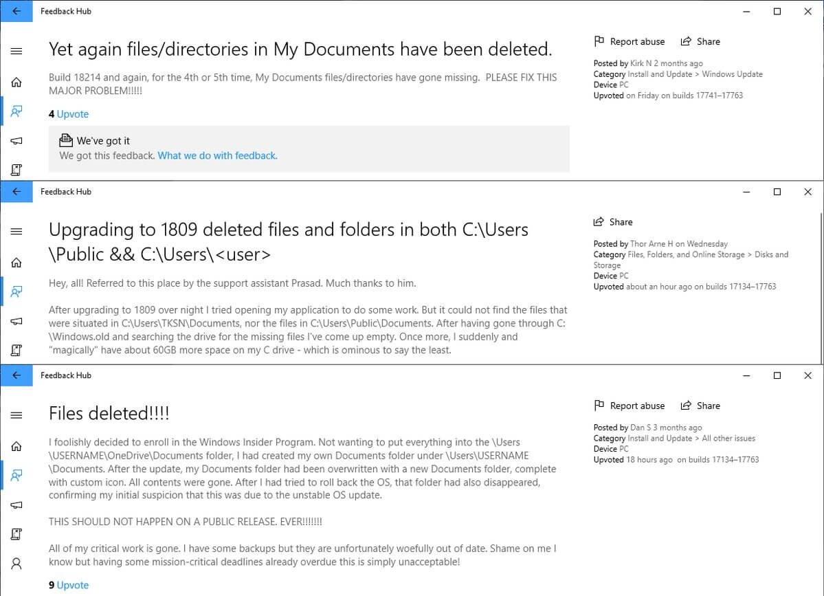 Windows 10 (версия 1809) - удаление данных