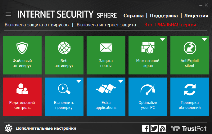 Обзор TrustPort Internet Security Sphere (2017) - Панель управления