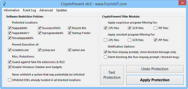 Новый модуль CryptoPrevent Filter Module