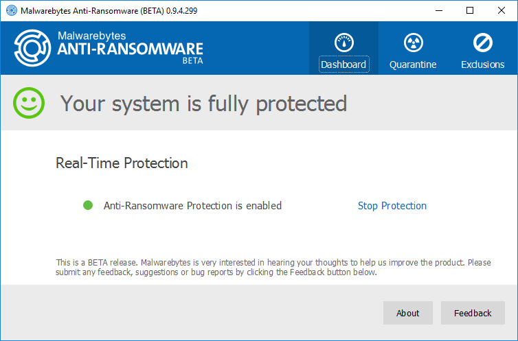 Интерфейс Malwarebytes Anti-Ransomware Beta