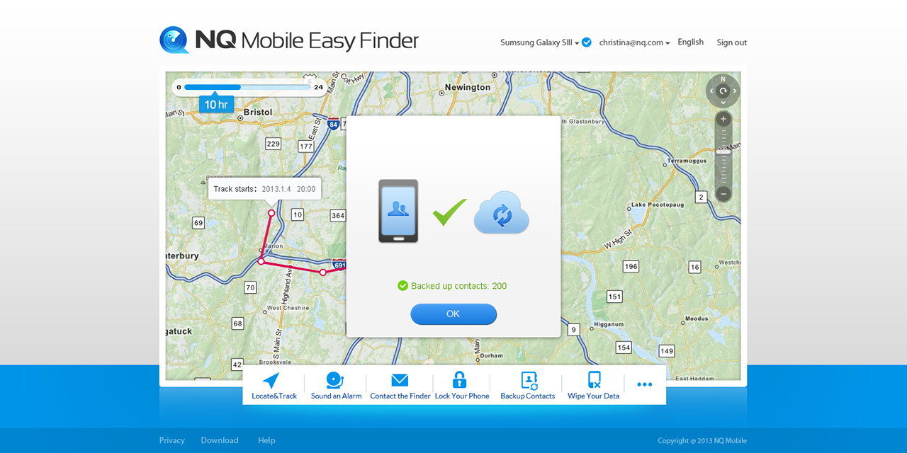 NQ Mobile Easy Finder для Android: Веб-портал